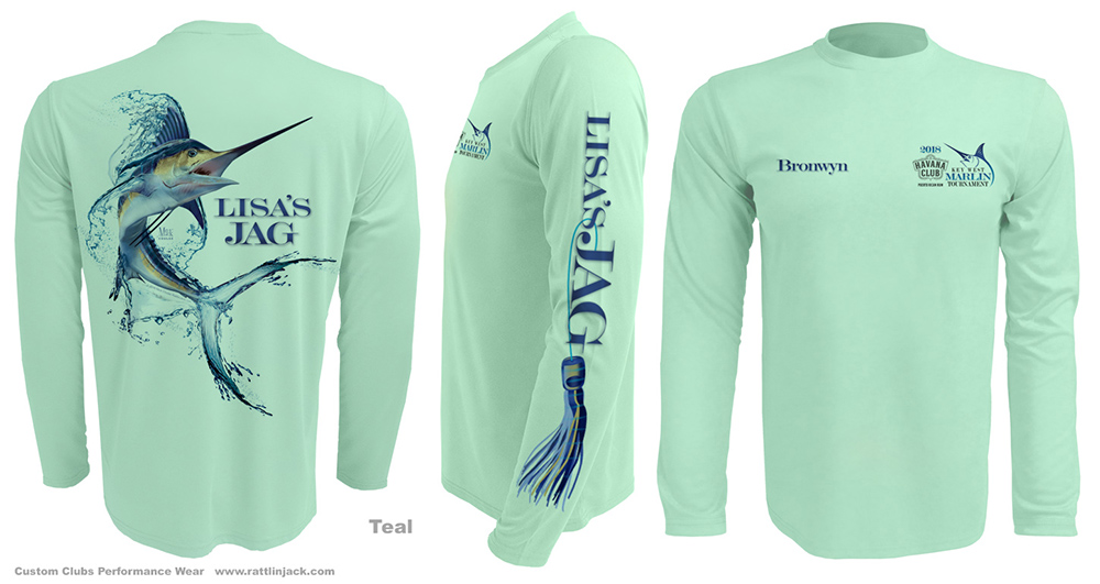 Custom UPF Fishing Shirt with Marlin